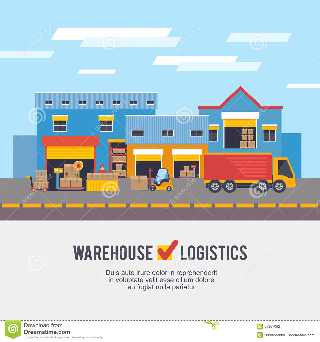 Warehousing And Logistic And Delivery Vector Illustration