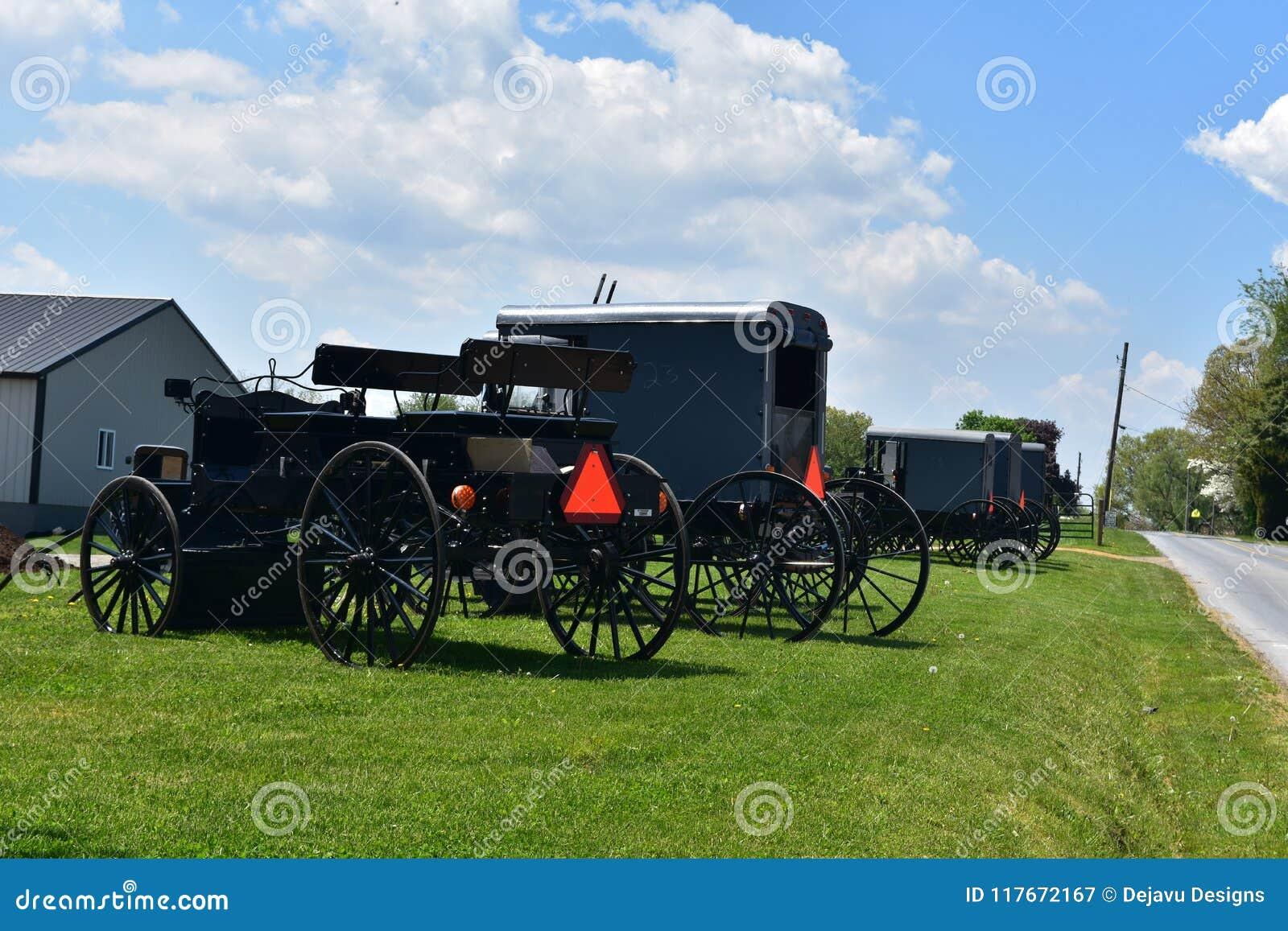 Warenkörbe und Buggys für Amische und Mennonite geparkt