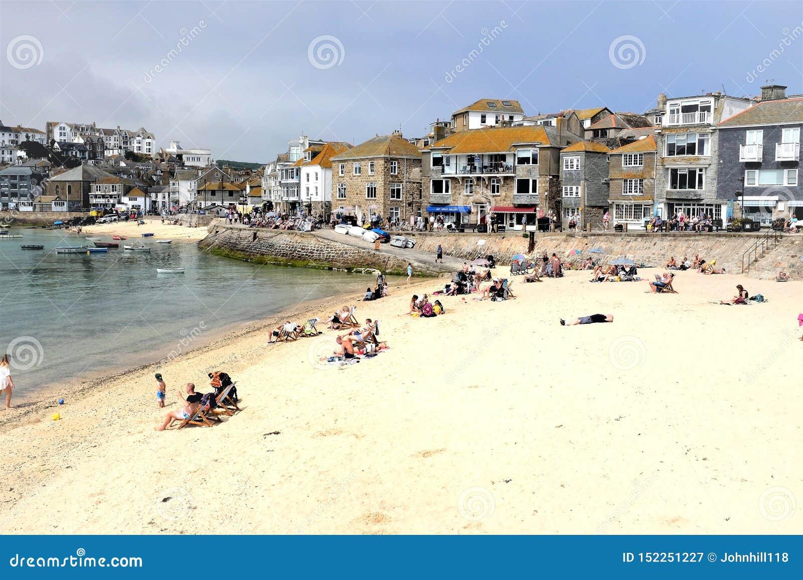 Warf road and harbor beaches, St. Ives, Cornwall, UK