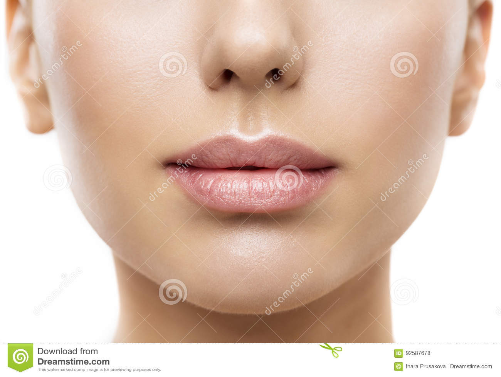 Wargi, kobiety twarzy usta piękno, Piękna skóra Folujący wargi zbliżenie