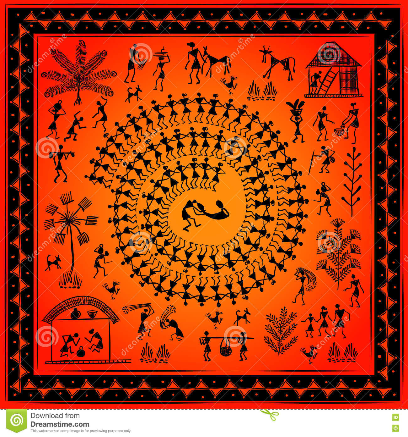 dbd7935f67b03 Warli peynting - hand drawn traditional the ancient tribal art India.  Pictorial language is matched by a rudimentary technique depicting rural  life of the ...