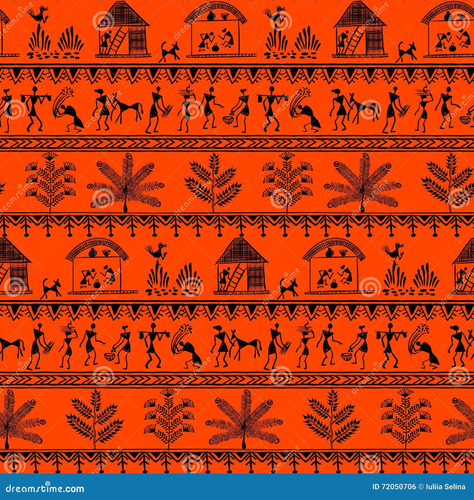 Warli Tribal Art 9 Stock Illustration - Image: 72050706