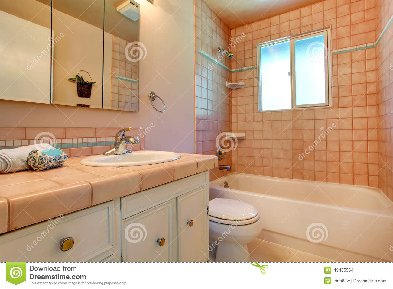 Warm bathroom interior in light peach stock photo image for Warm bathroom