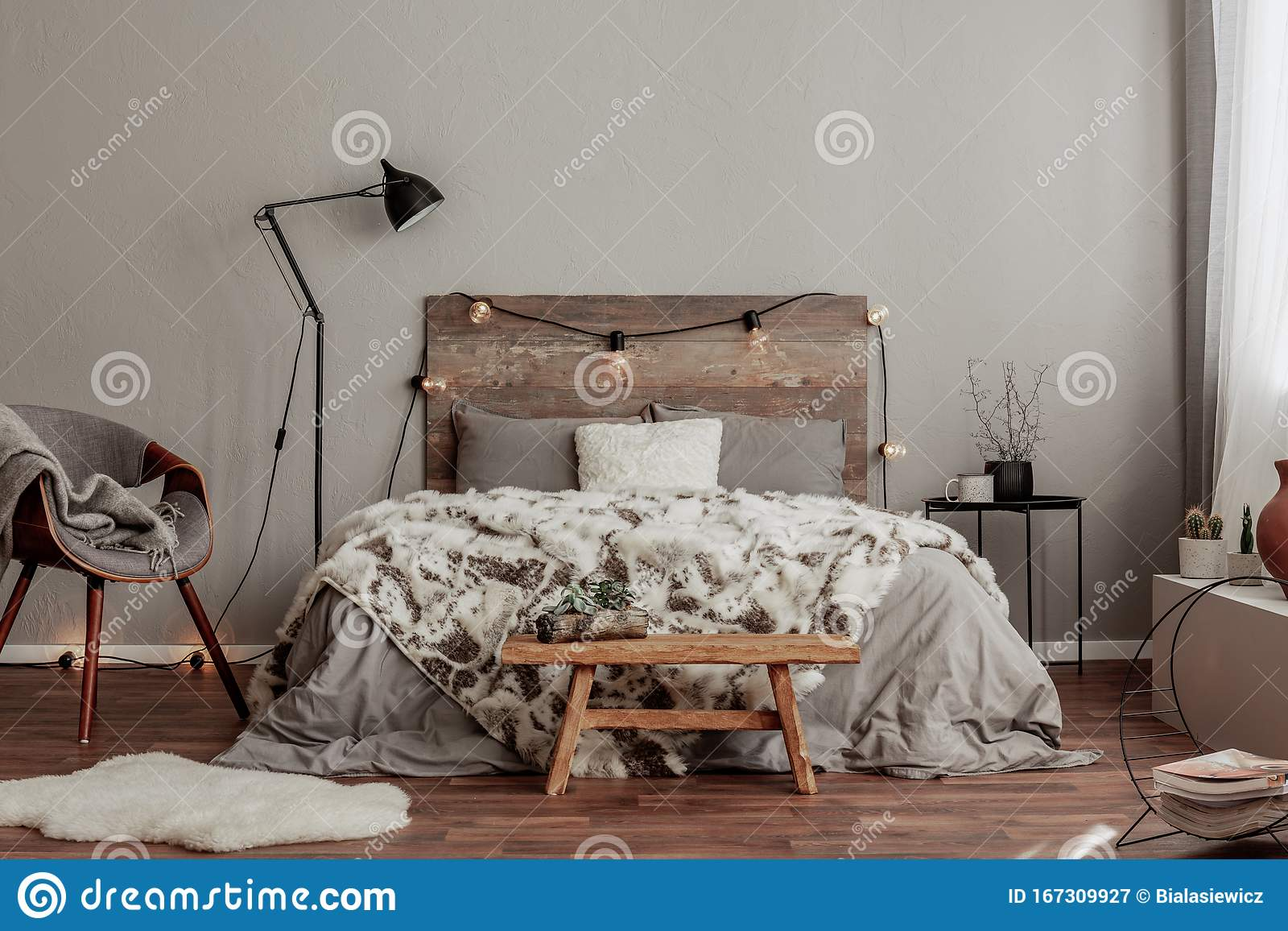 Warm Bedroom Interior With King Size Bed With Wooden Headboard With Light Fury Blanket Stock Image Image Of Decor Black 167309927