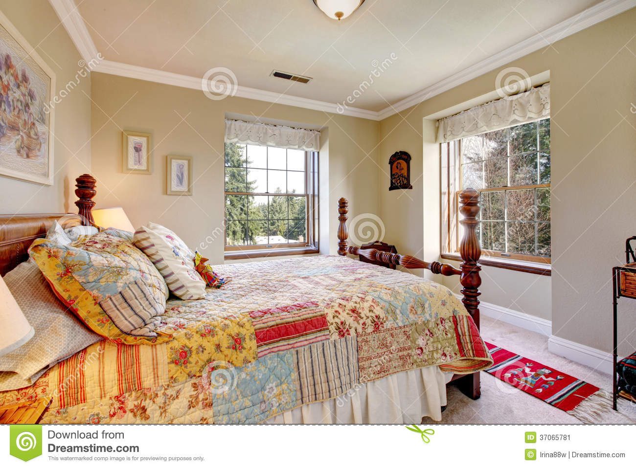 Warm Colors Bedroom With An Old Fashioned Bed Stock Image Image Of
