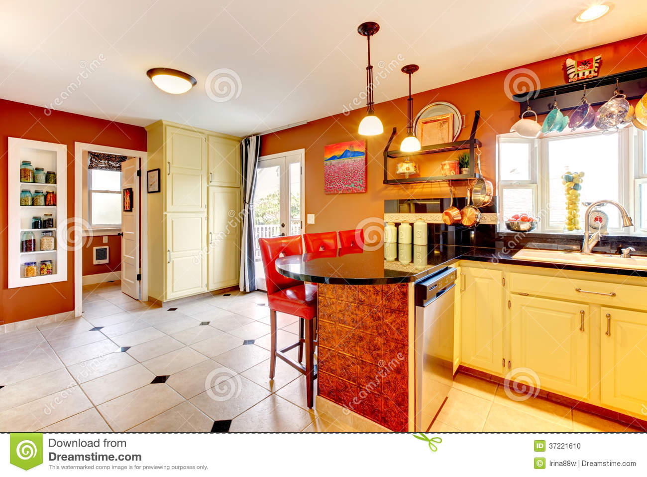 Small Kitchen Room With Yellow Wooden Cabinets Rust Walls And Beige