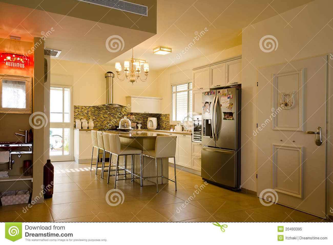 Warm Colors Kitchen Stock Image Image Of Cabinets