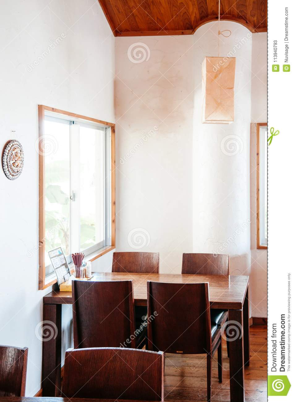 Warm Cozy Japanese Restaurant With Wooden Furniture White Wall A Editorial Stock Photo Image Of Light Restaurant 113940793