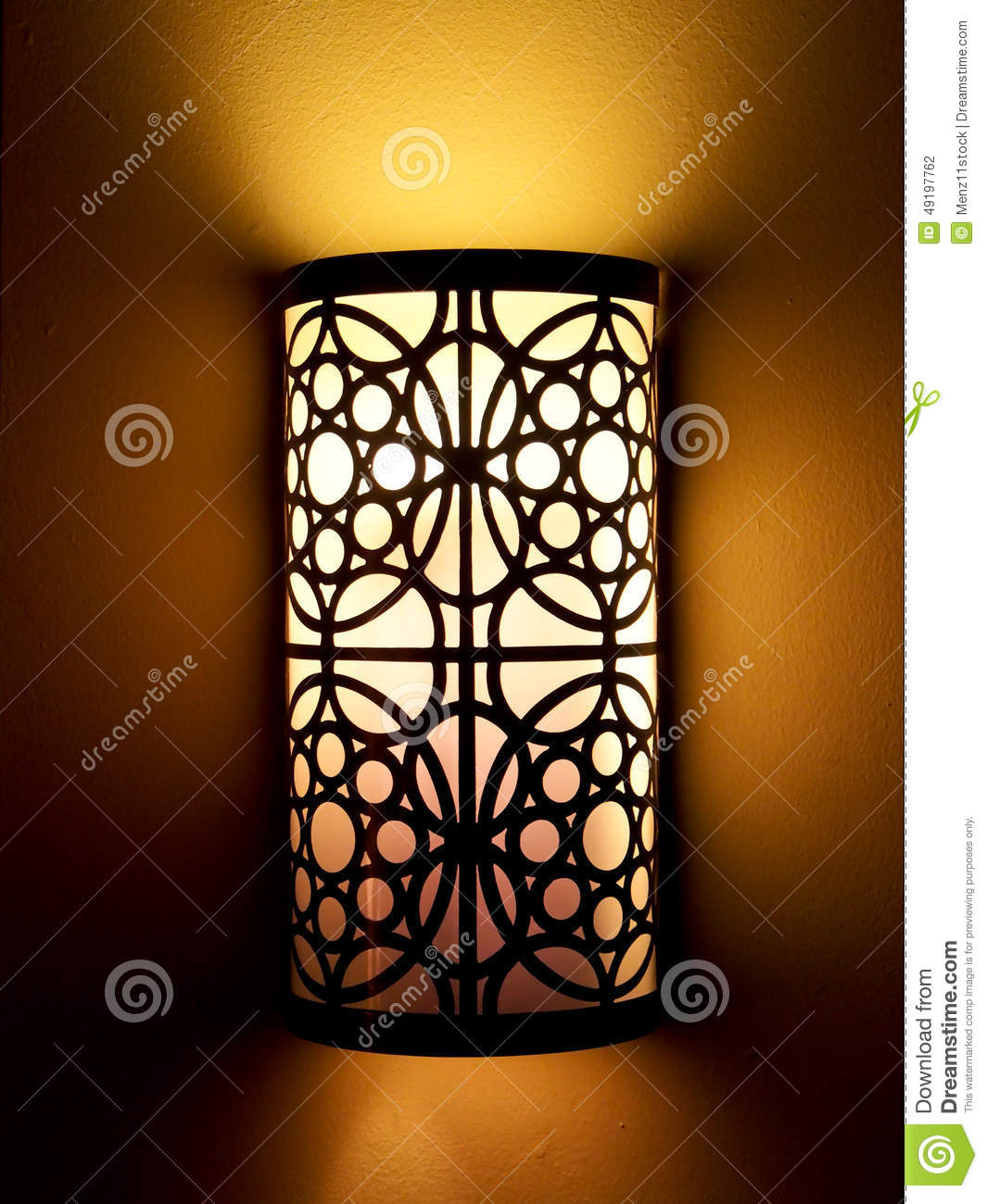 Warm Light Lamp Shade On Wall In Dark Stock Photo - Image of relax ...