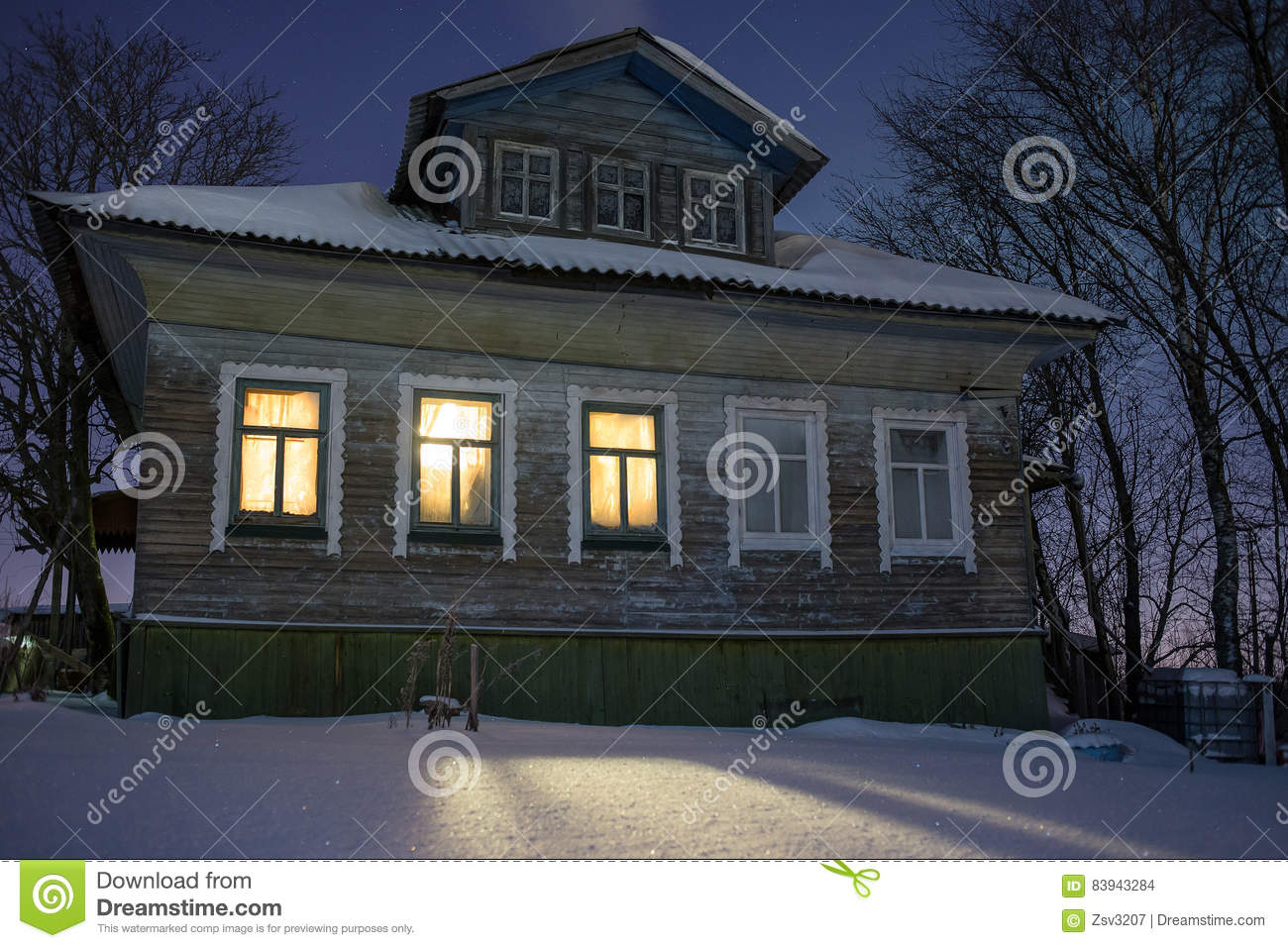Warm Light From Windows Ofcozy Old Russian Village House