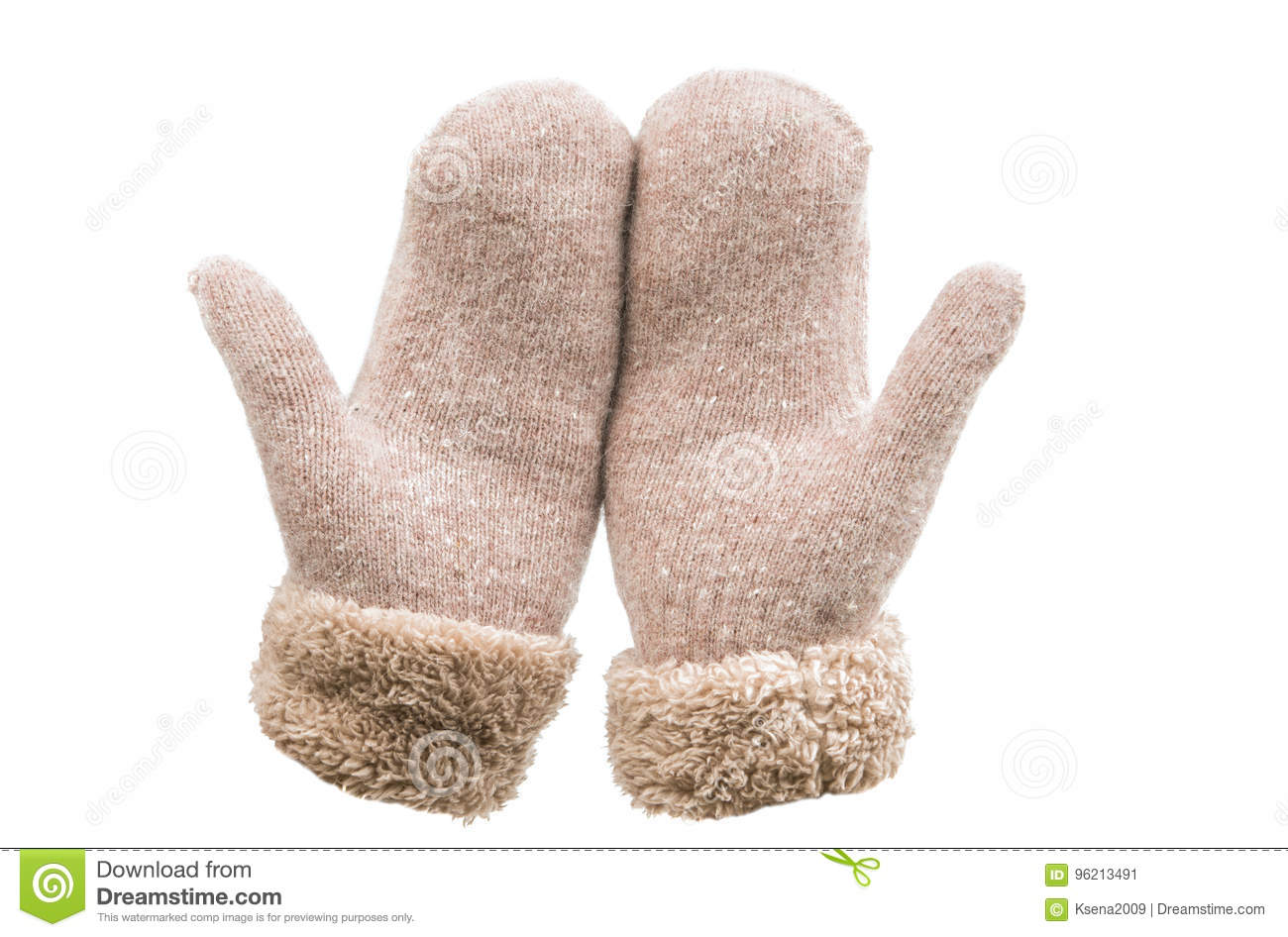Warm mittens isolated