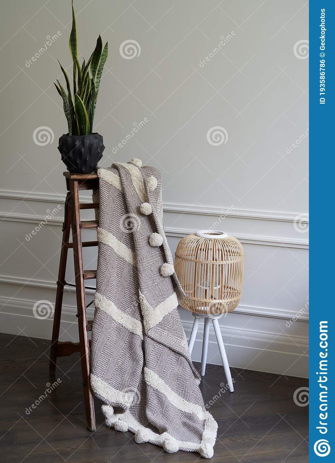Warm Plaid Hanging On Decorative Ladder With Houseplant Stock Photo Image Of Warm Indoor 193586786