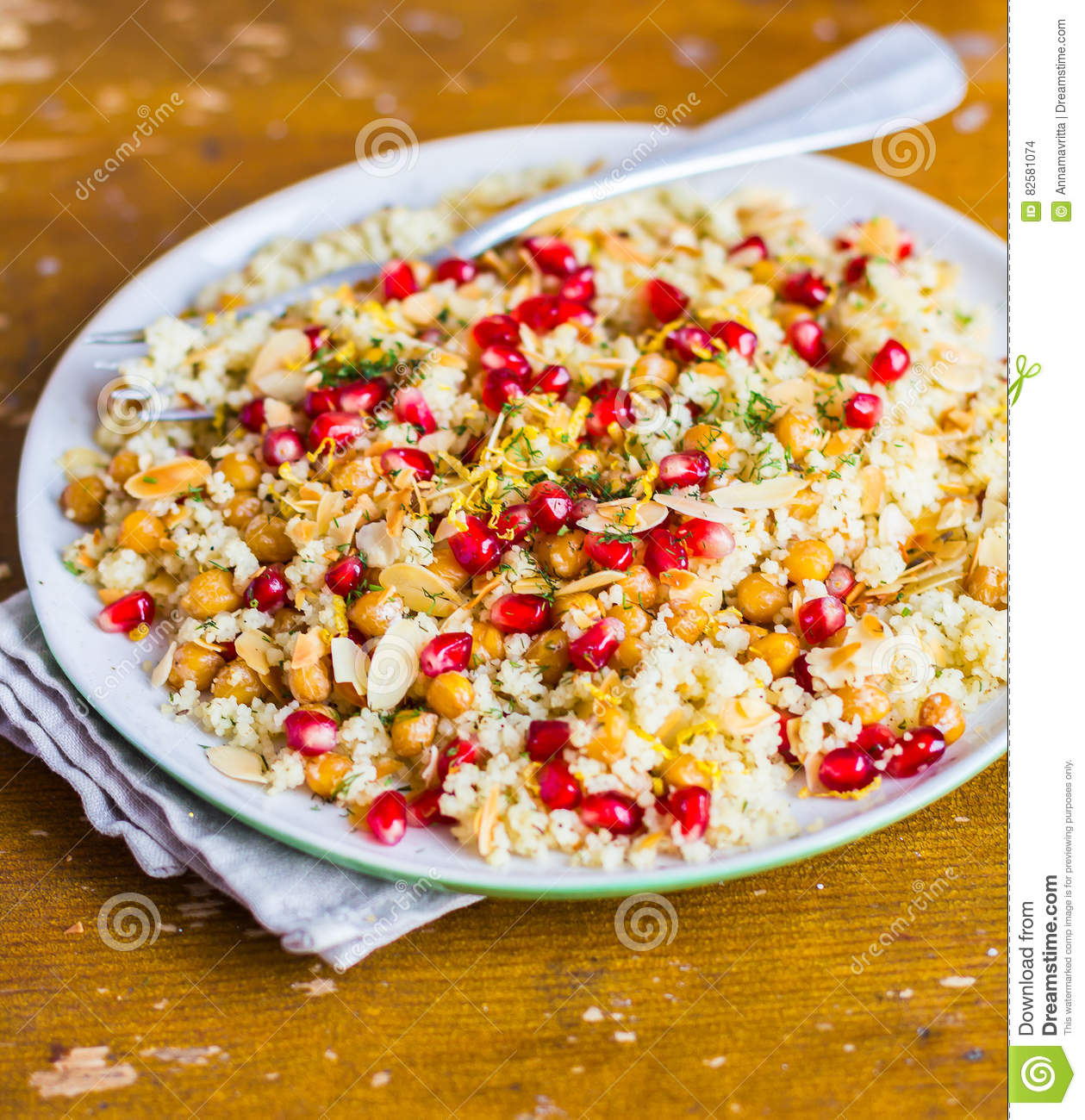 Warm Salad With Roasted Chickpea Couscous Pomegranate