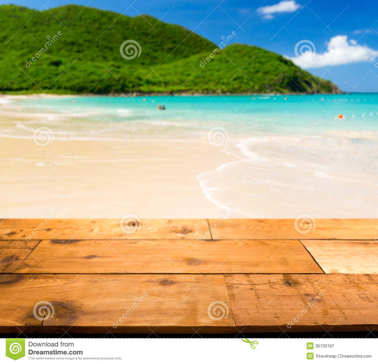 Wooden decking or picnic table on Anse Marcel beach on St Martin in ...
