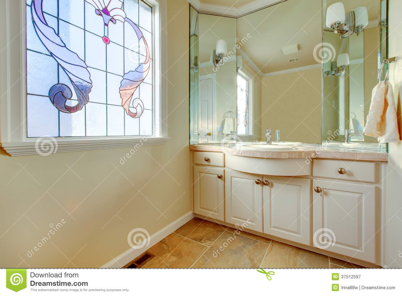 Warm Small Bathroom With Great Idea For Window Treatment ...