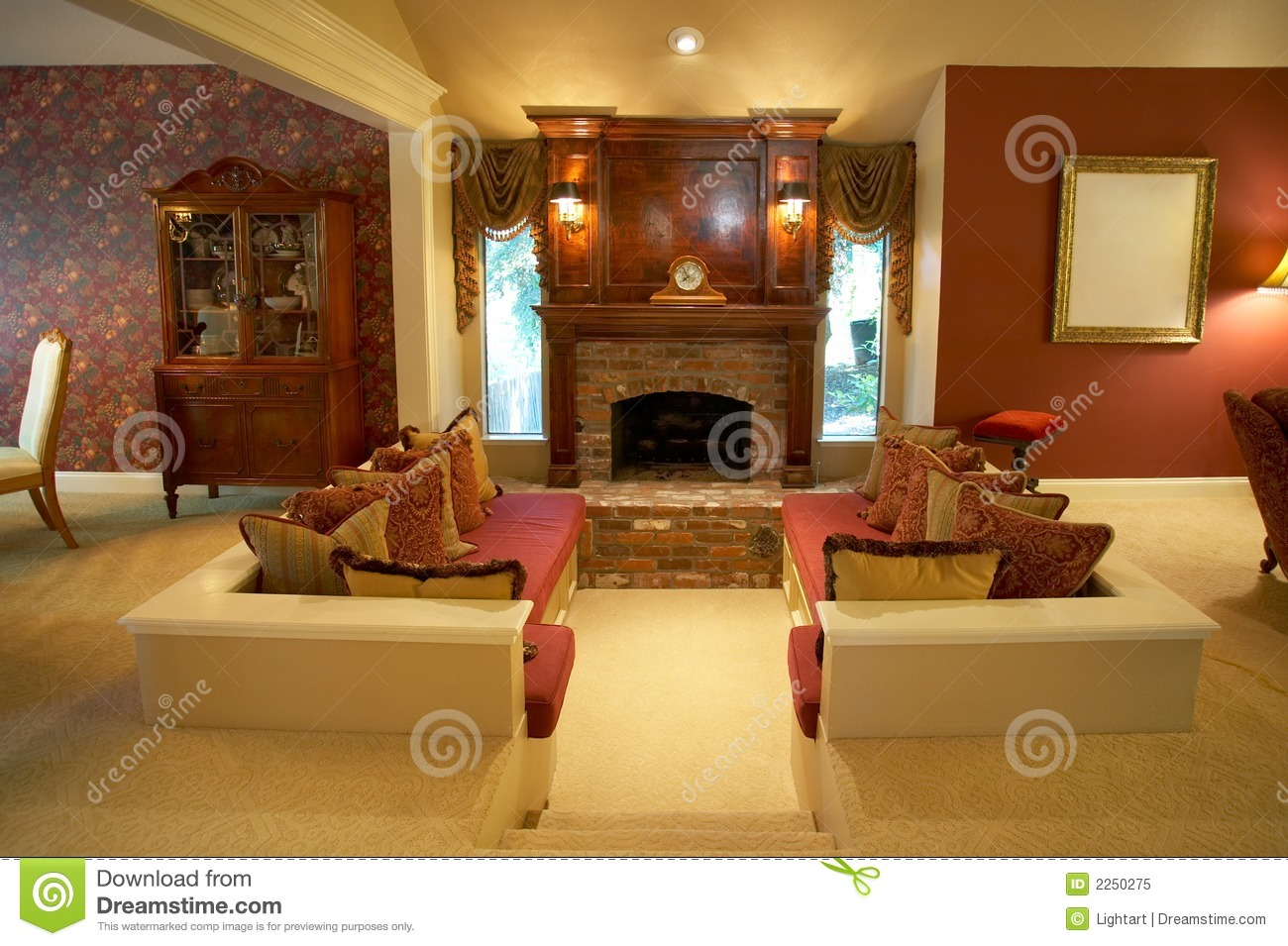 Warm Sunken Living Room Royalty Free Stock Photo Image 2250275