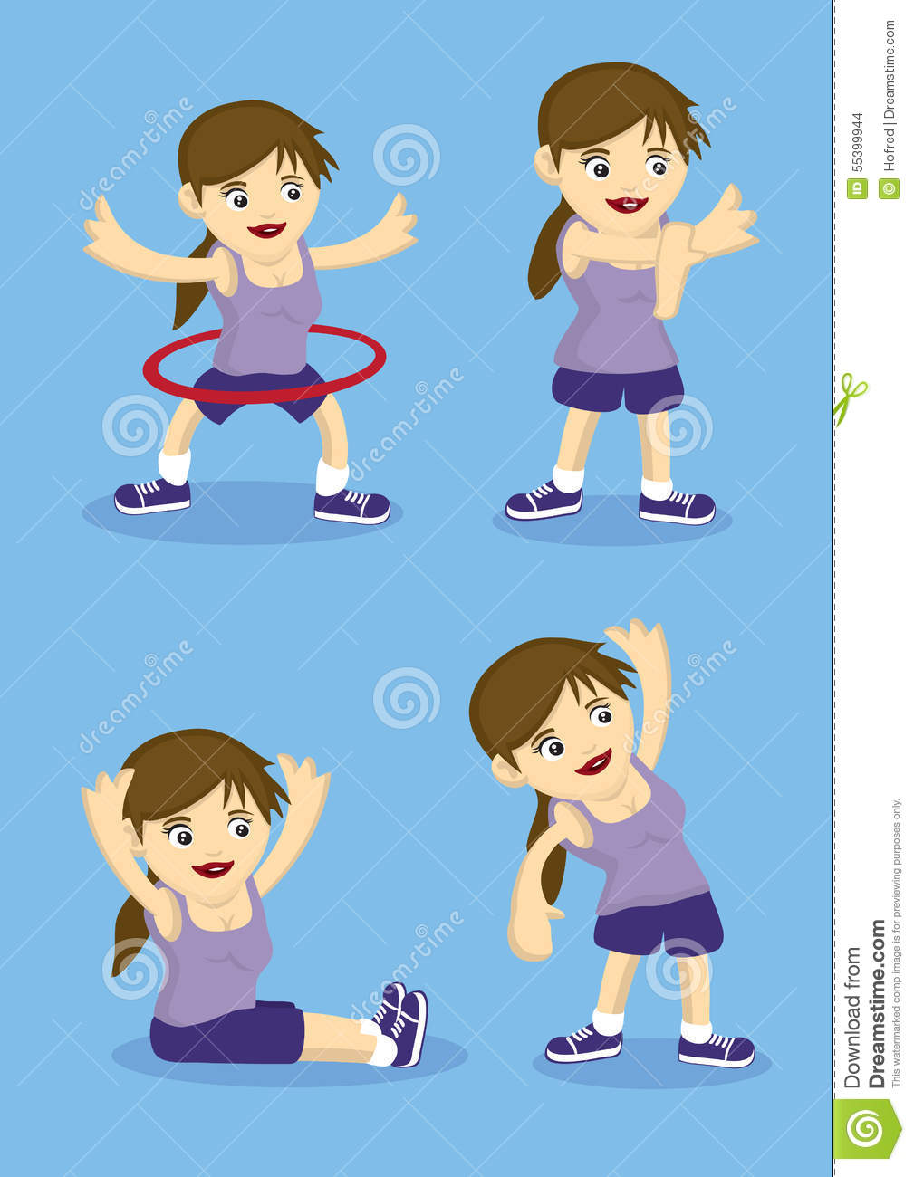 Sporty cartoon girl doing warm up and stretching exercises. Vector ...