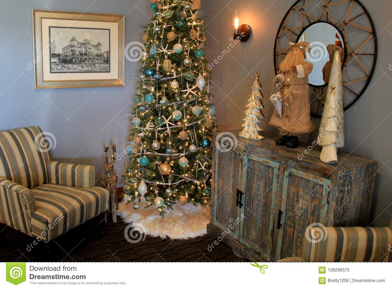 Beautiful Christmas Tree With Ornaments In A Seashore Theme With