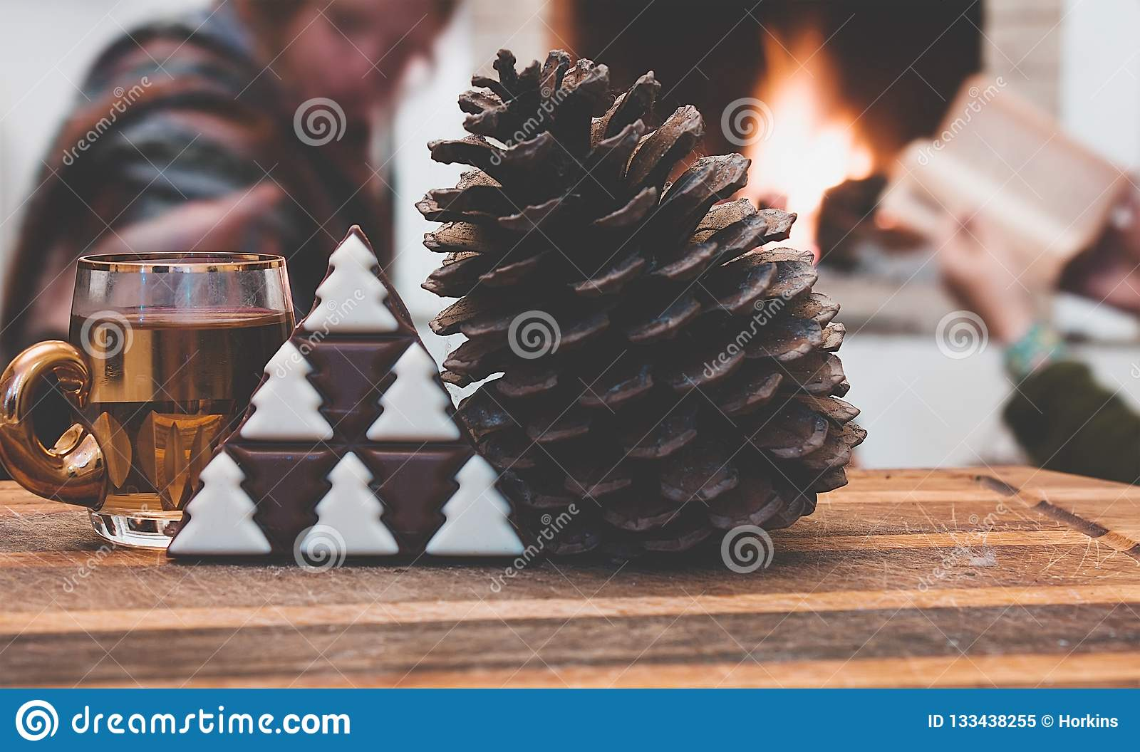 Mulled Wine At Winter Decorations And Pine Cone With Christmas Tree Chocolate Stock Image Image Of Holiday Gourmet 133438255