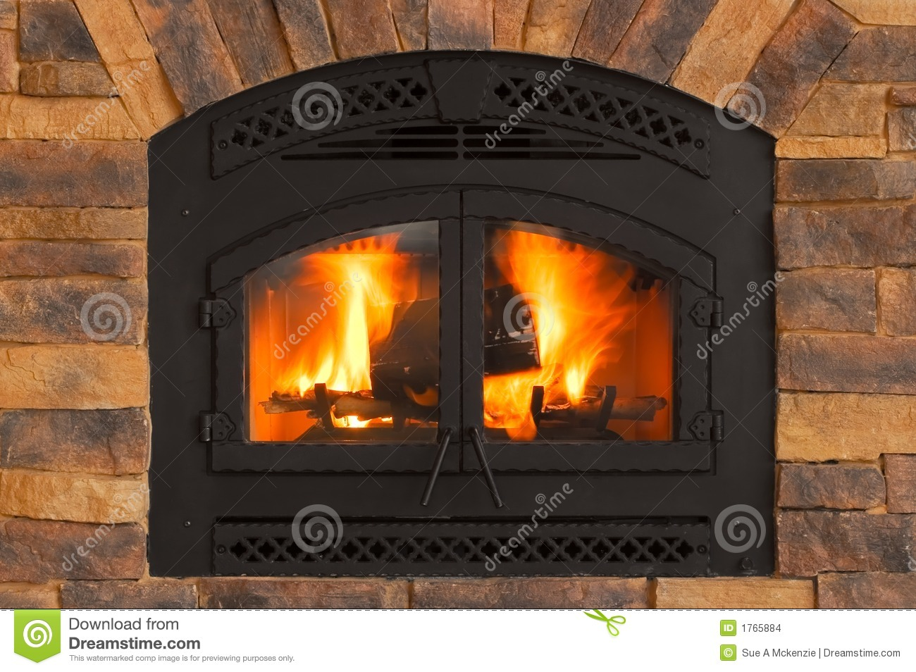 Warm Winter Fire With Wood Flames Ash Embers And