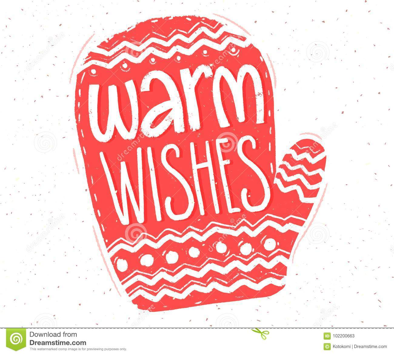 Warm wishes hand lettering in red mitten shape for christmas cards warm wishes hand lettering in red mitten shape for christmas cards and tags m4hsunfo