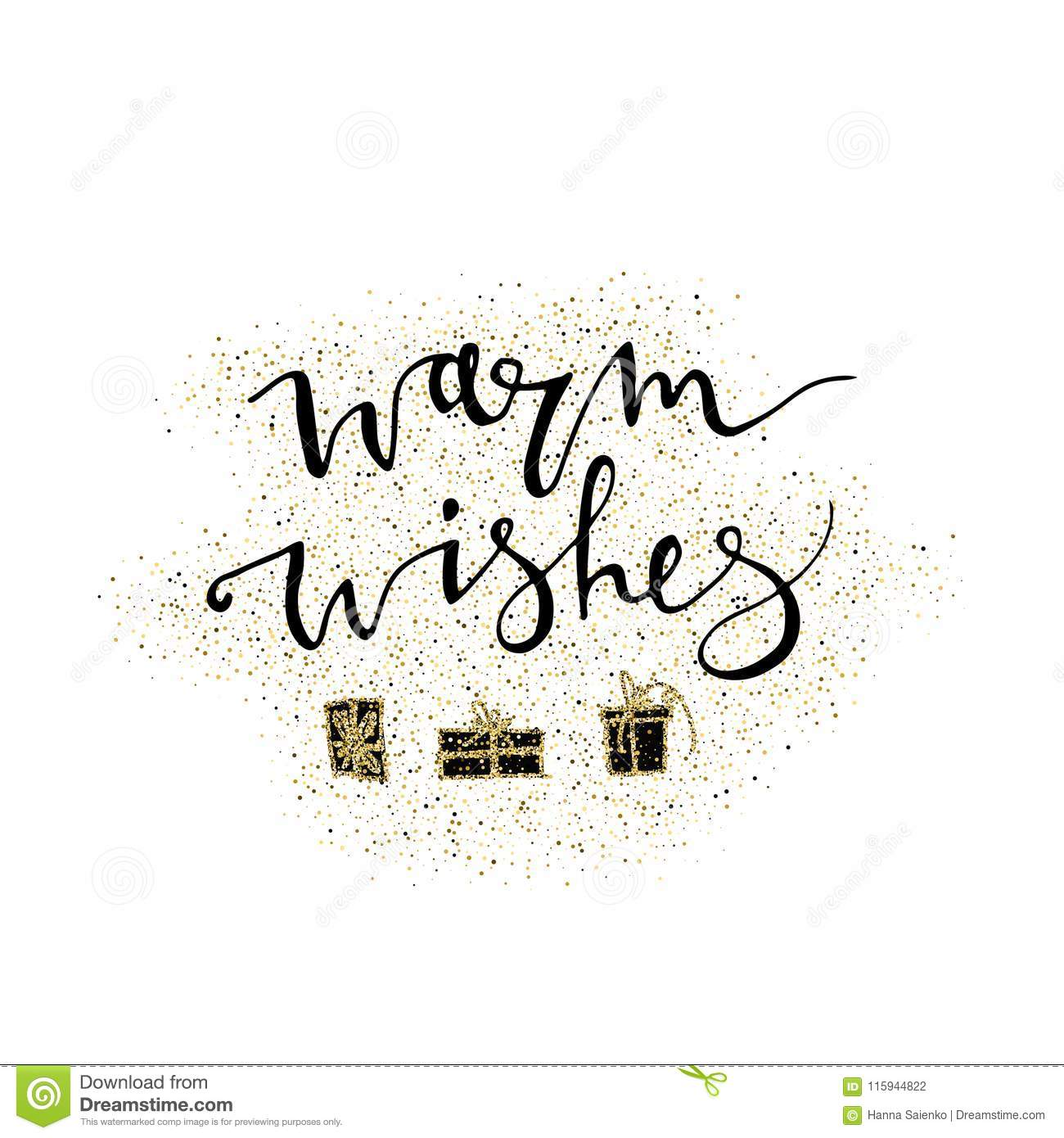 warm wishes handmade lettering with gold glitter gift perfect for christmas new year cards and