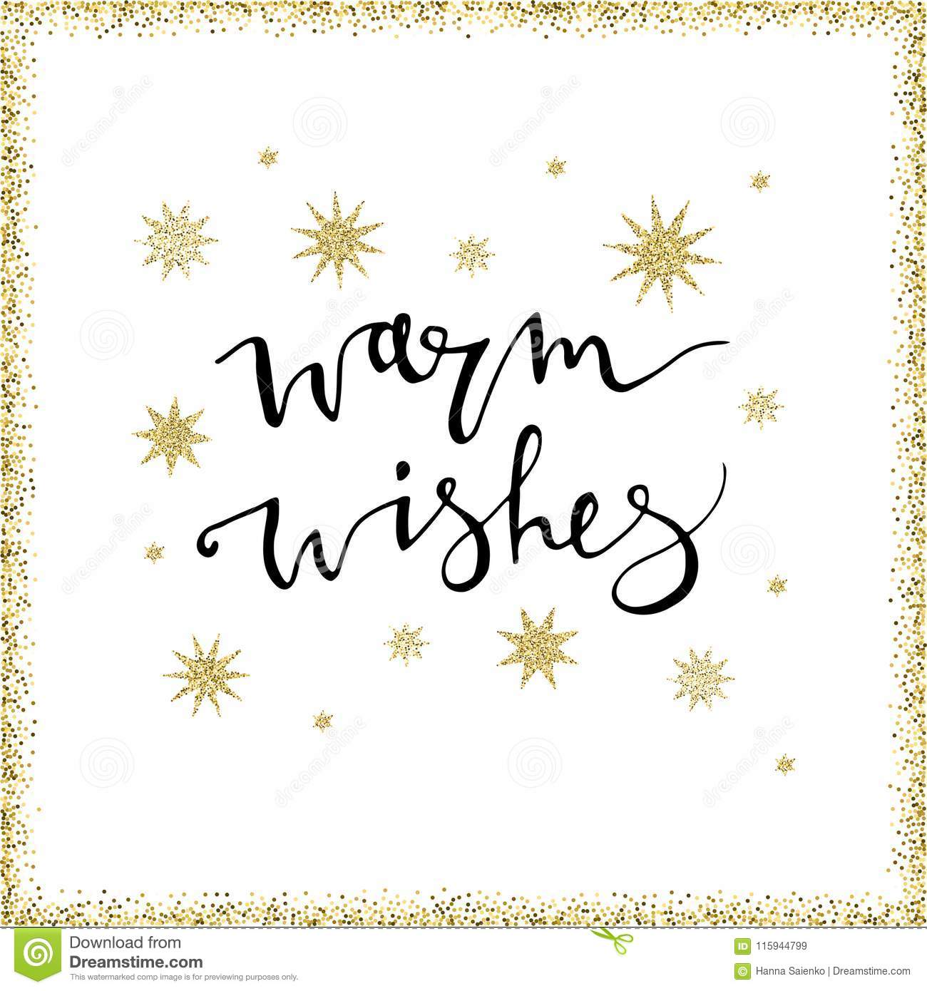 Warm wishes handmade lettering with gold glittersnowflakes perfect download comp m4hsunfo
