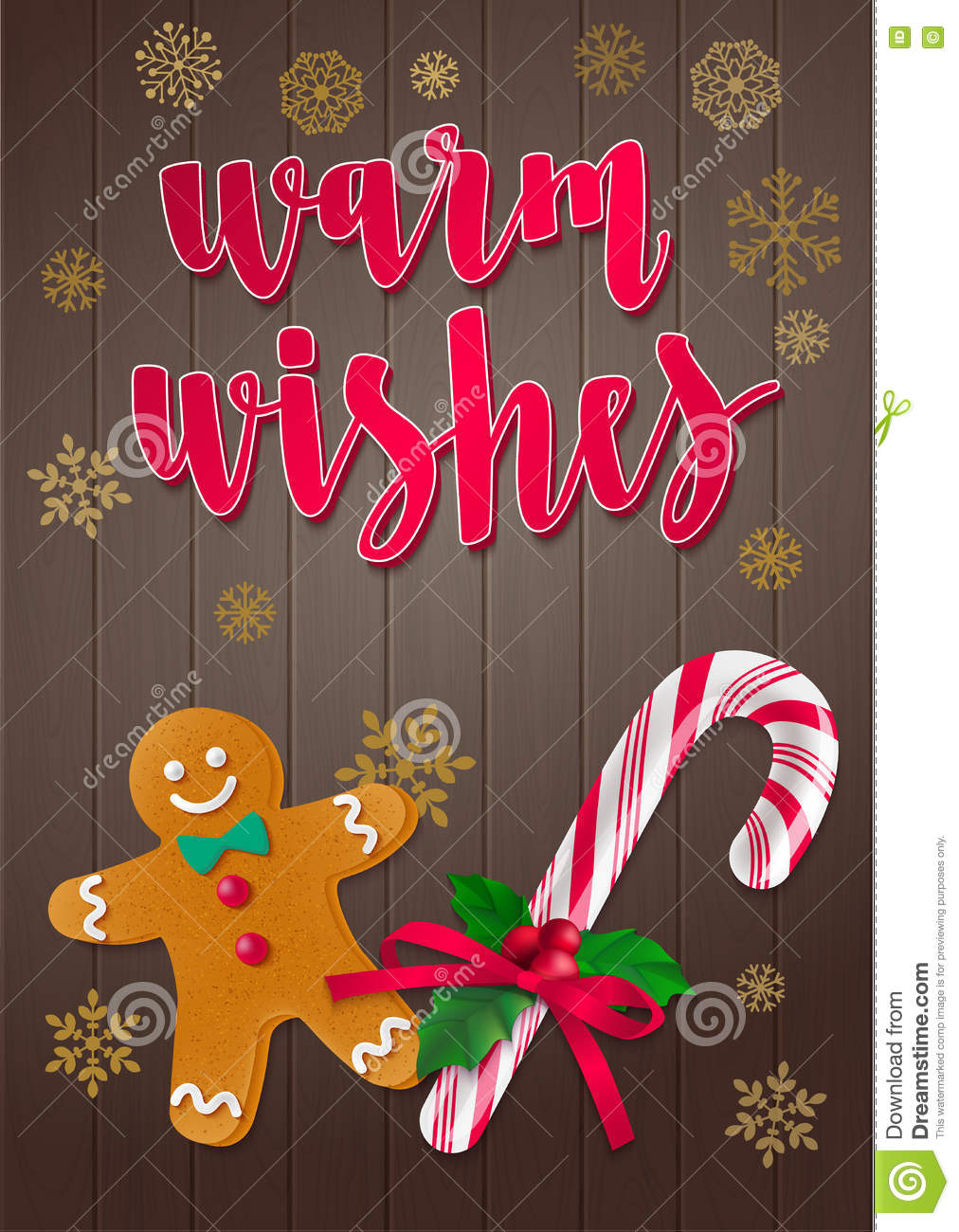 Warm Wishes Holiday Greeting Card With Calligraphy And Decorative
