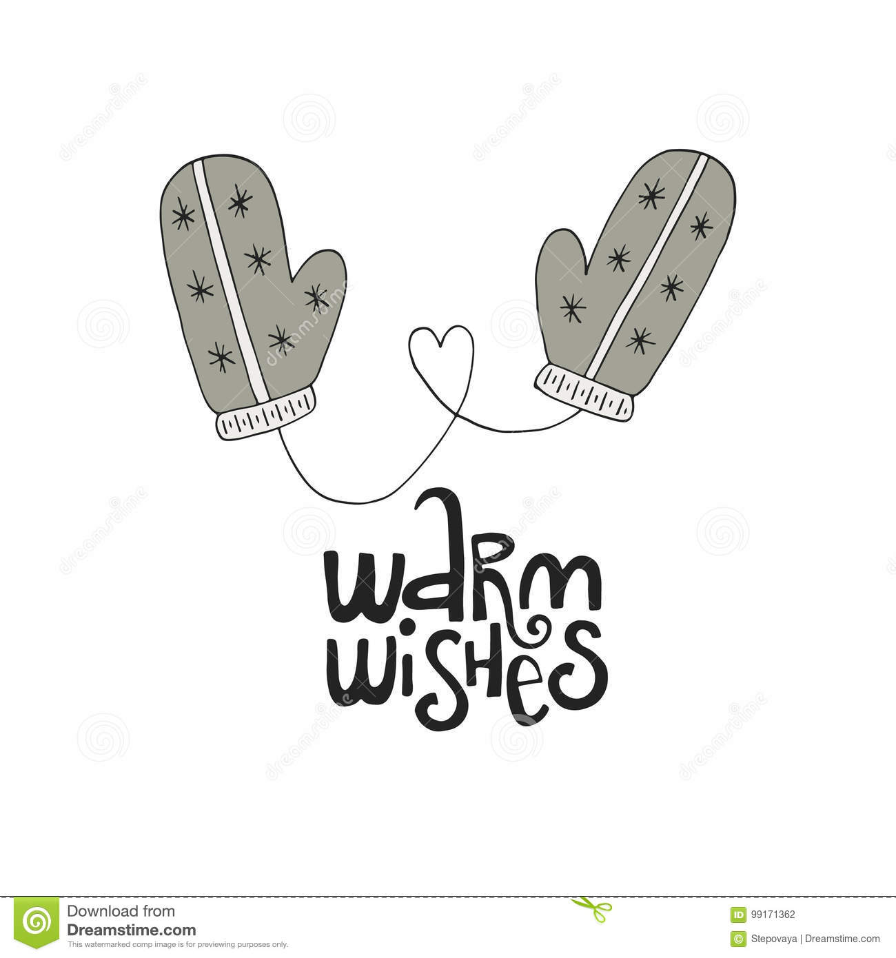 Warm Wishes Lettering With Winter Mittens. Hand Drawn Christmas ...