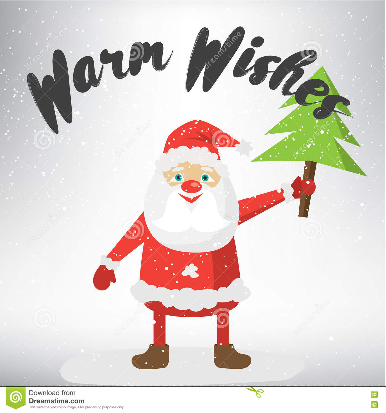 warm wishes post card template vector illustration of santa claus