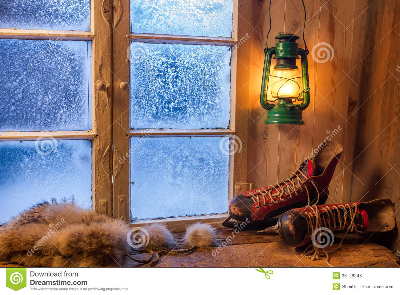 warm wooden house in the winter evening royalty free stock image image 36128346. Black Bedroom Furniture Sets. Home Design Ideas