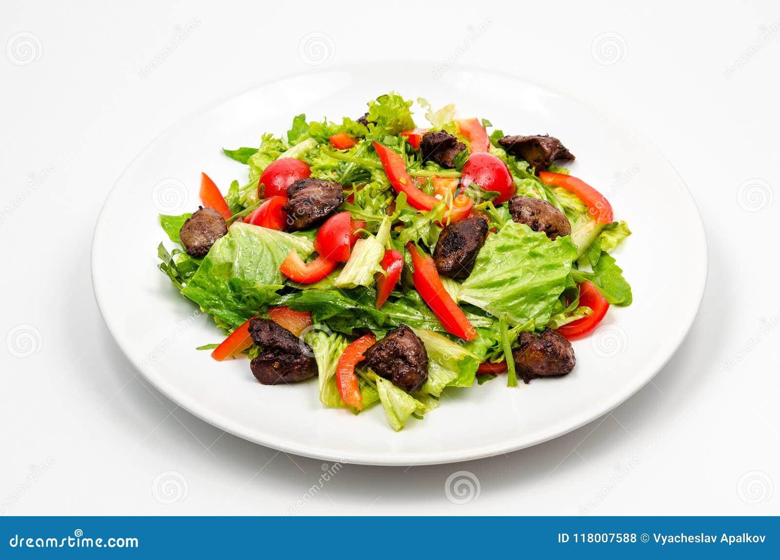 Warme salade met geroosterde kippenlever