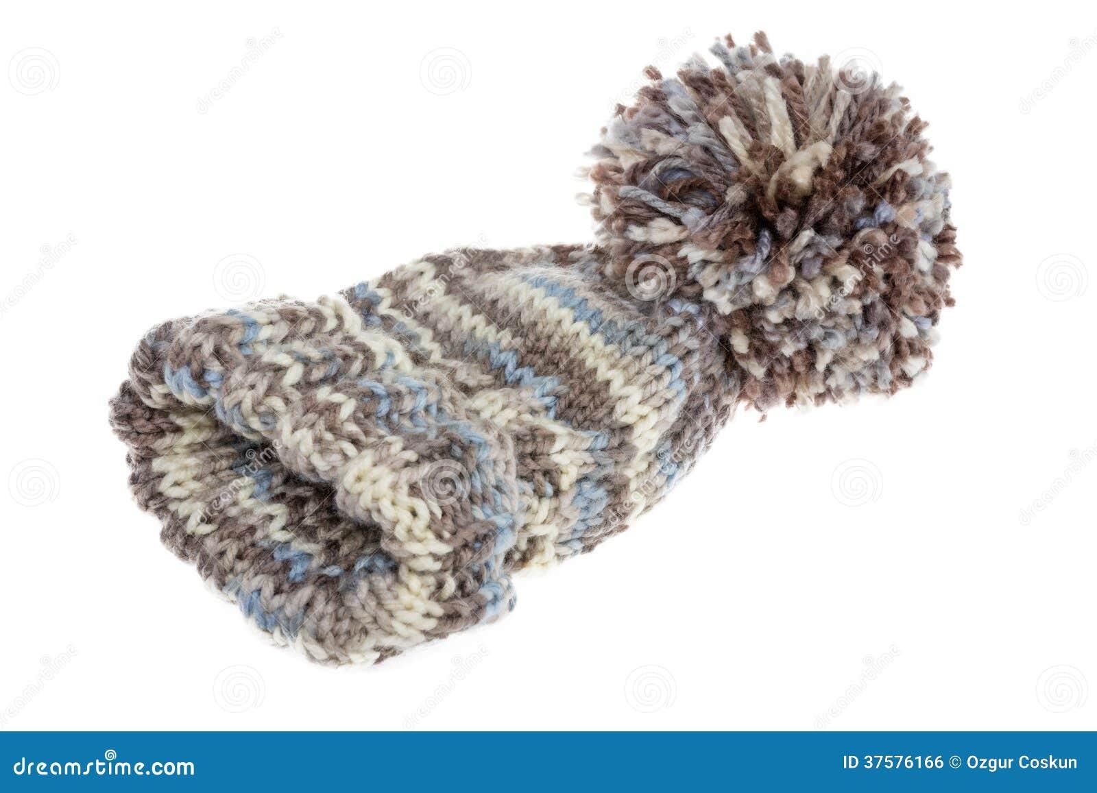 Warme wollige de winterhoed met een reusachtige pompom