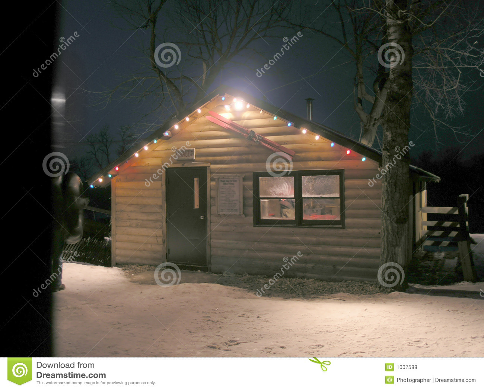 Warming hut at night