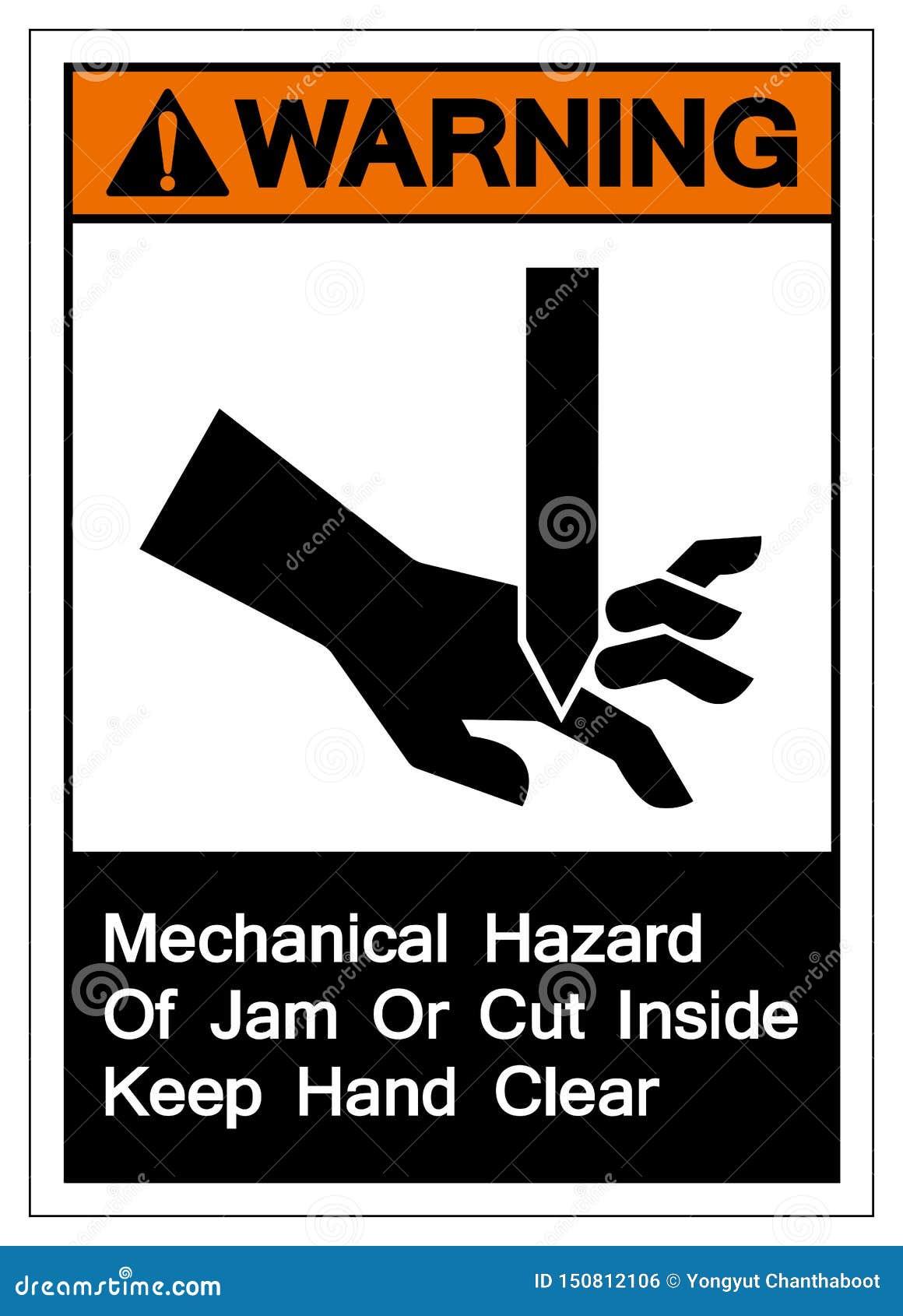 Warnende mechanische Gefahr des Staus oder Schnitt nach innen halten Handklares Symbol-Zeichen, die Vektor-Illustration, lokalisi