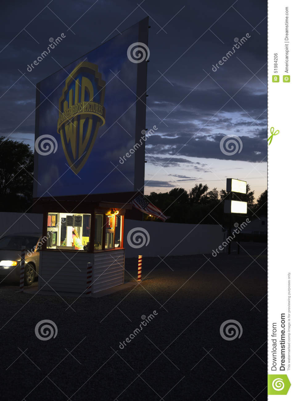warner brothers logo projected at star drive in movie