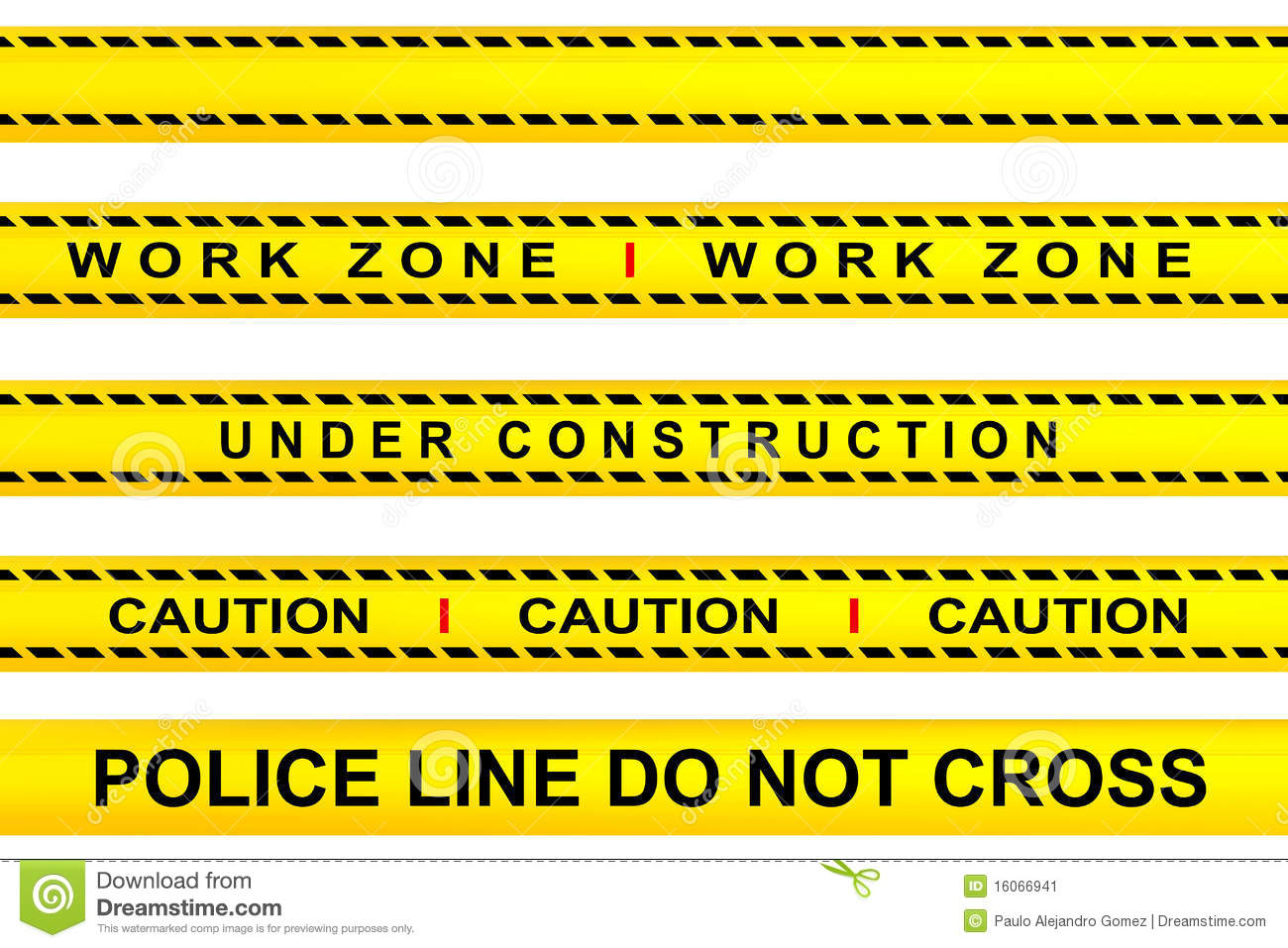 Yellow tape warning, work zone, under construction, police line and ...