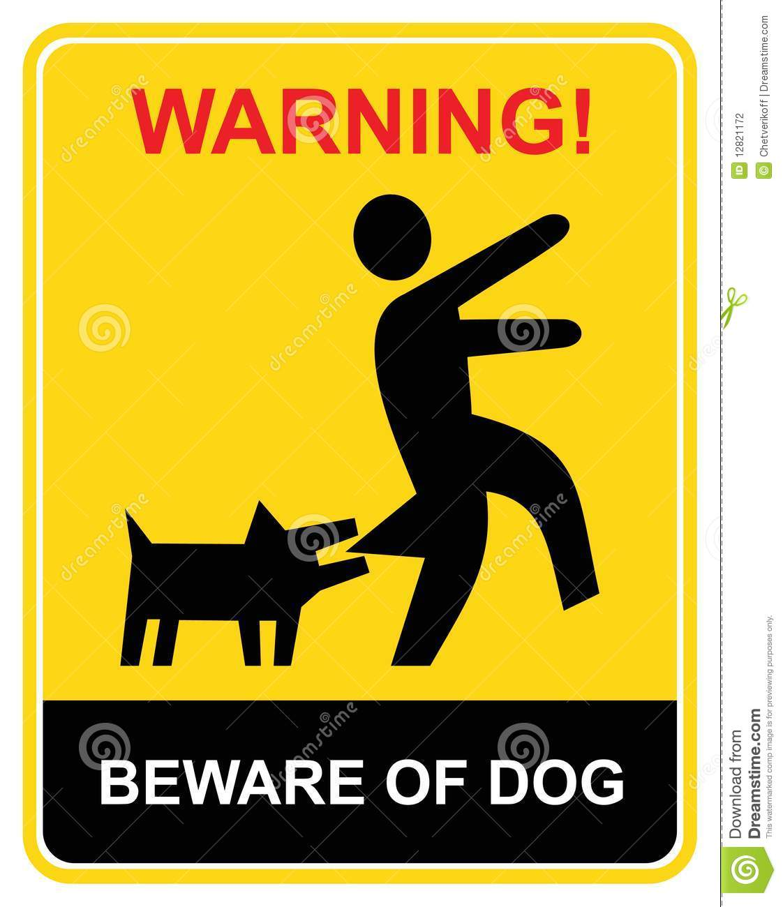 Beware of the mad dog - warning sign. Yellow and black vecror icon ...
