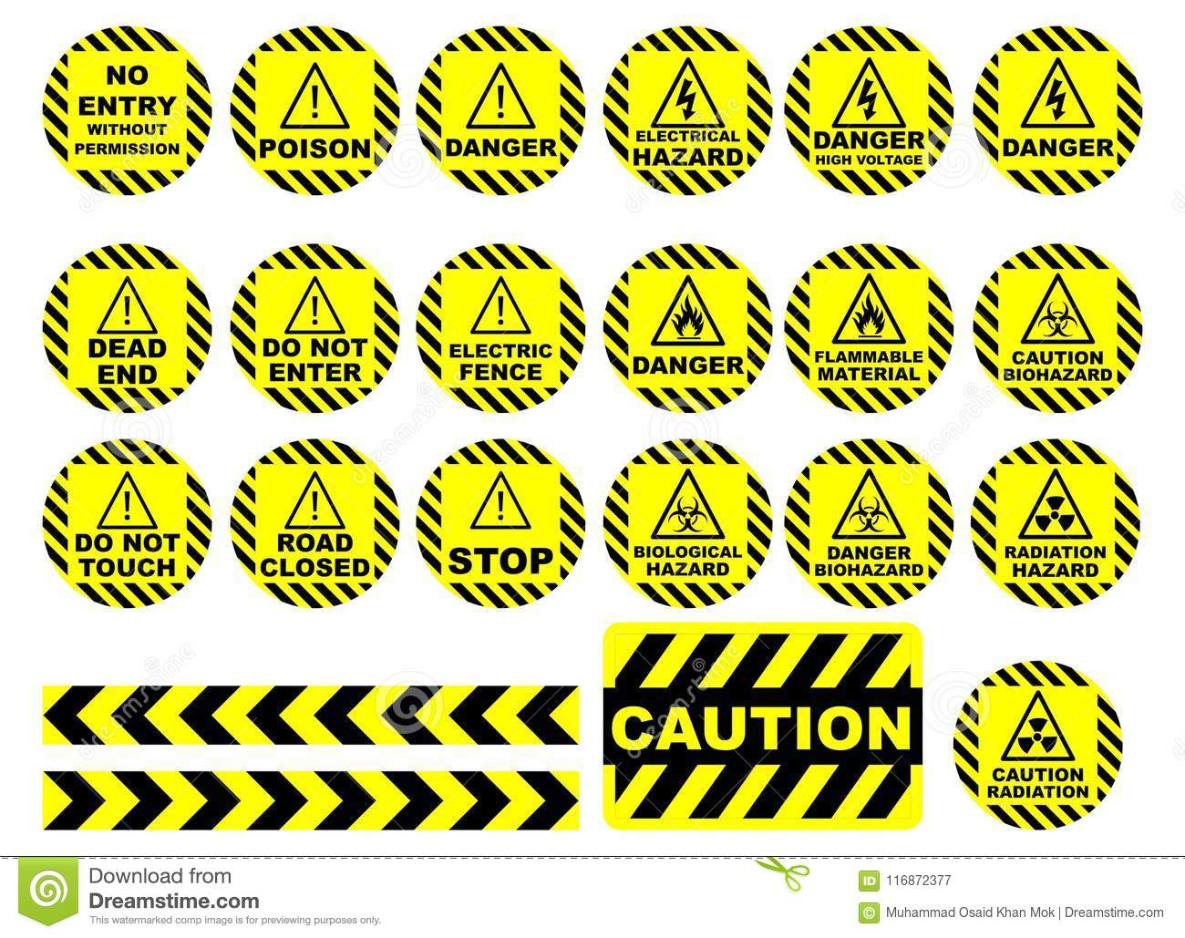 warning and caution signs stock vector illustration of material