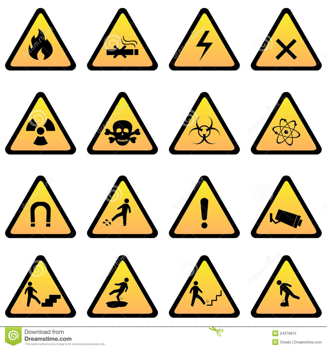 Warning And Danger Signs Royalty Free Stock Photo - Image: 24376815