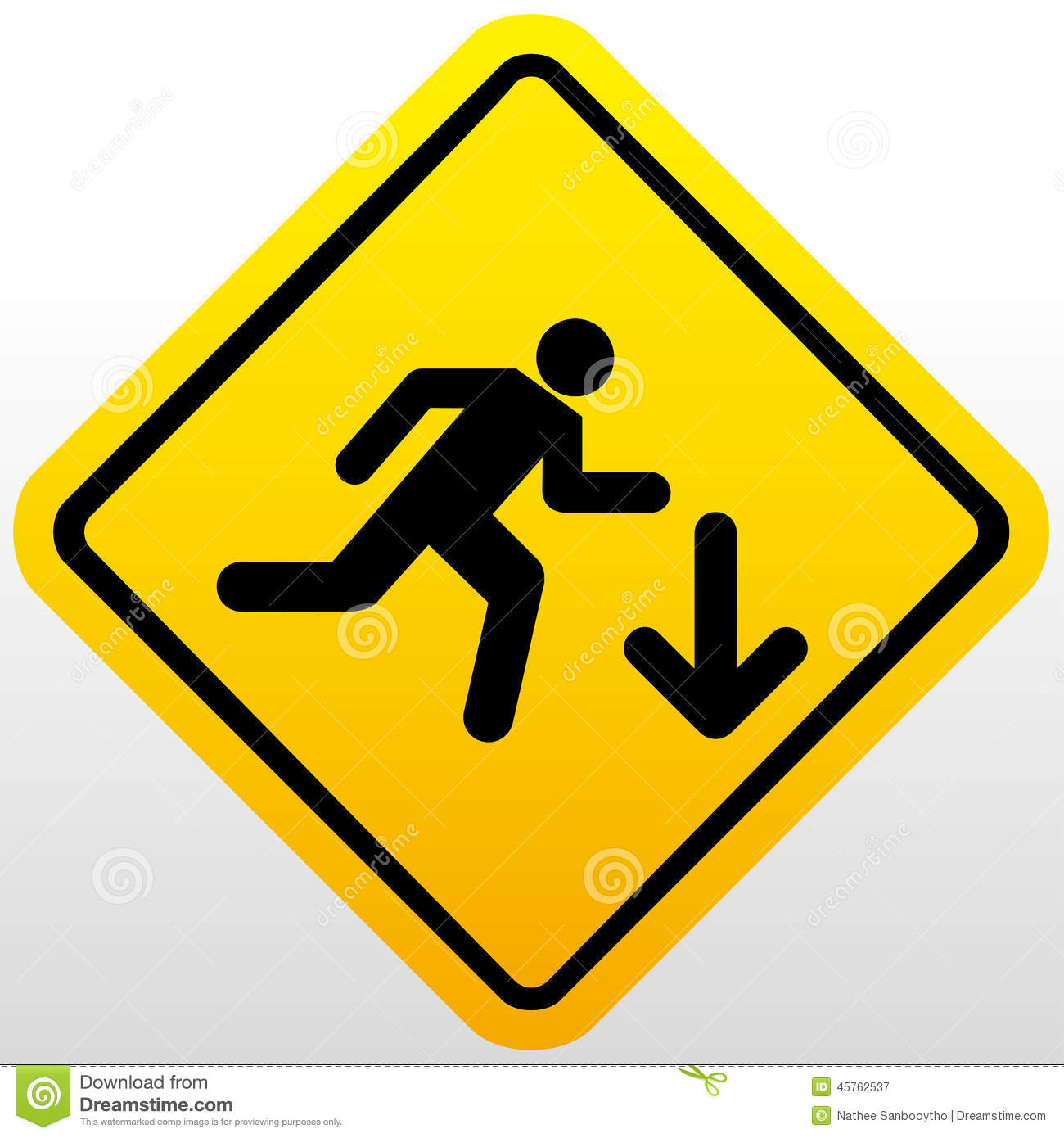 Warning Falling Off The Stairs Sign Stock Vector Image
