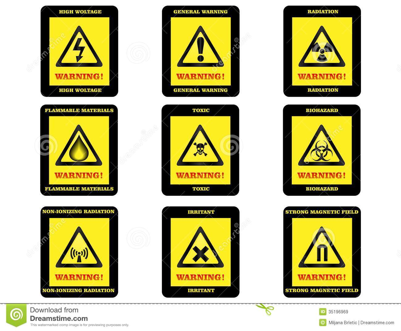 Warning Hazard Signs Royalty Free Stock Images  Image: 35196969