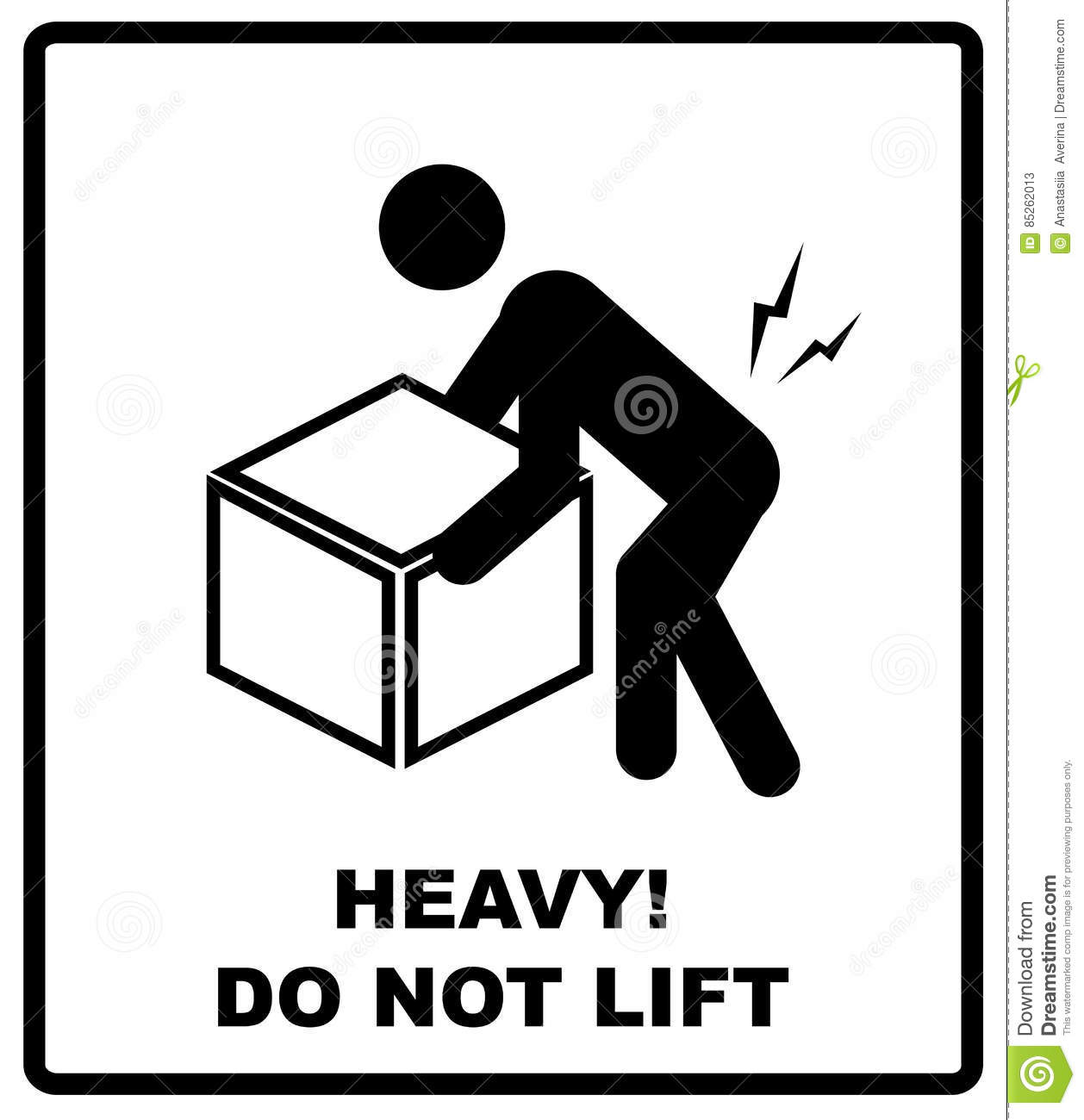 Warning Heavy Object Sign Do Not Lift Mass Vector Packaging Symbol