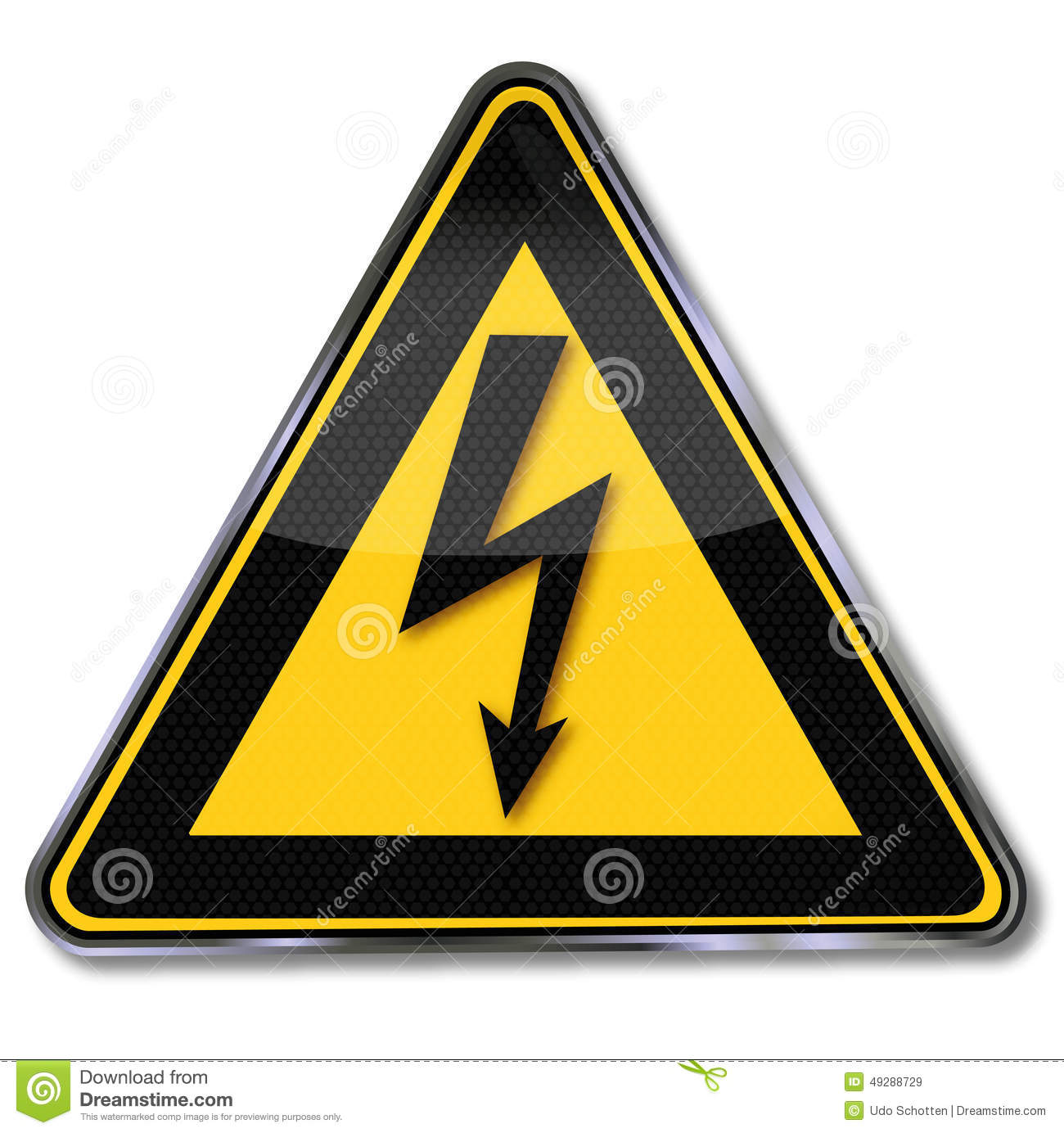 Warning Power And Lightning Stock Vector Image 49288729