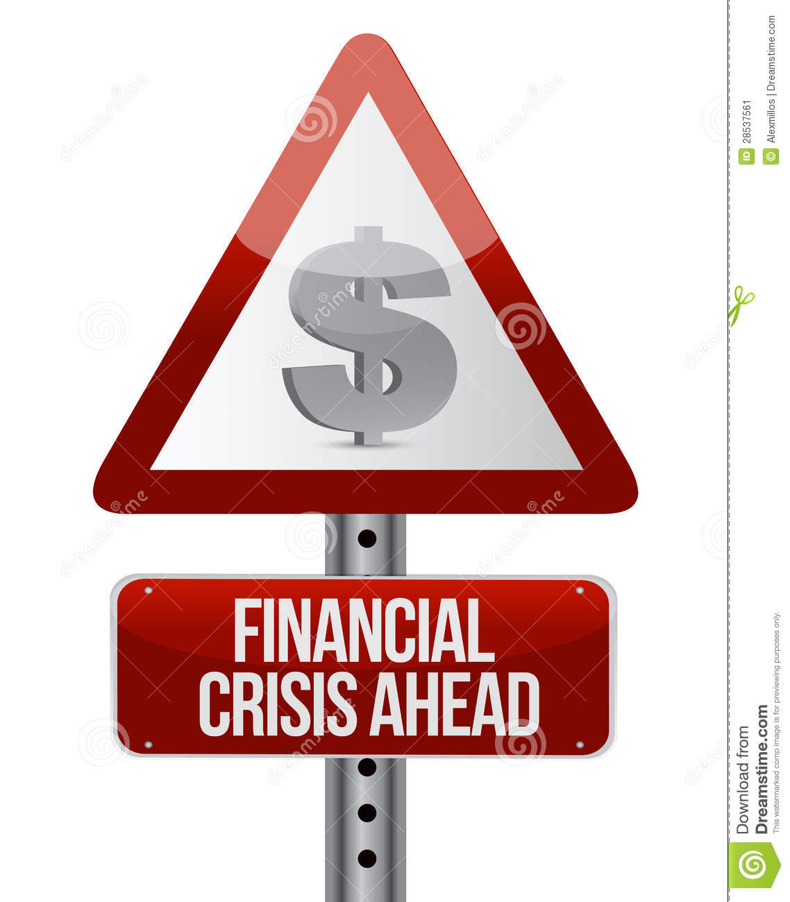 Finance Sign: Warning Road Sign With A Financial Crisis Concept Stock