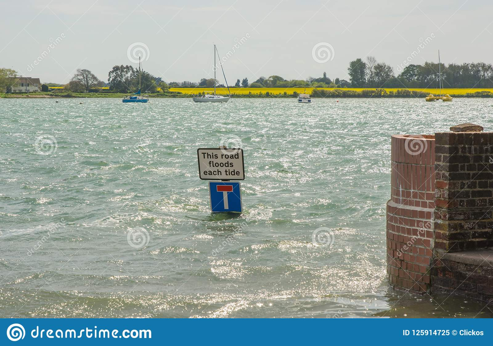 Bosham At High Tide, West Sussex, England Stock Image