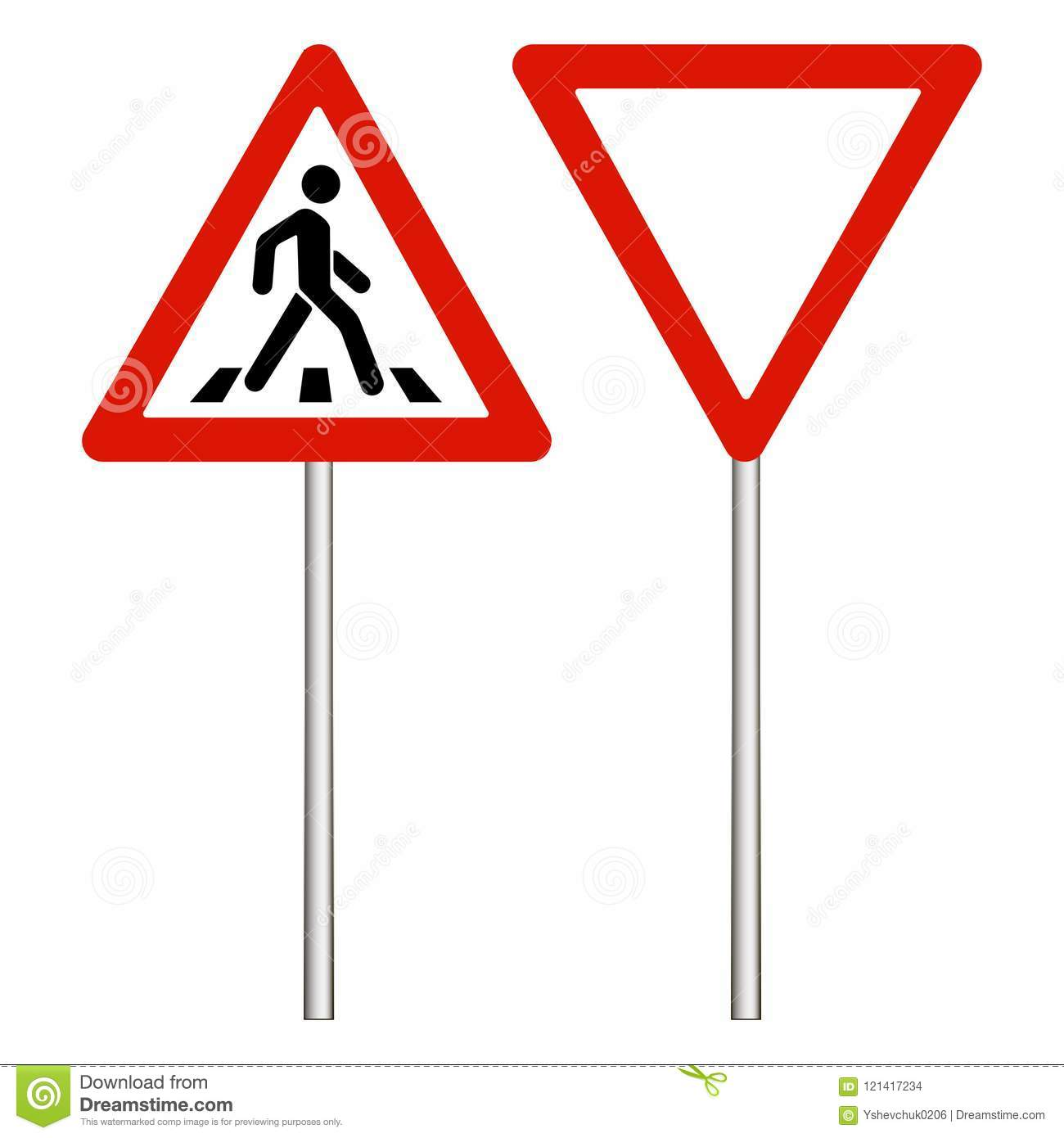 Warning Road Sign On White Background, Red Triangle  Make
