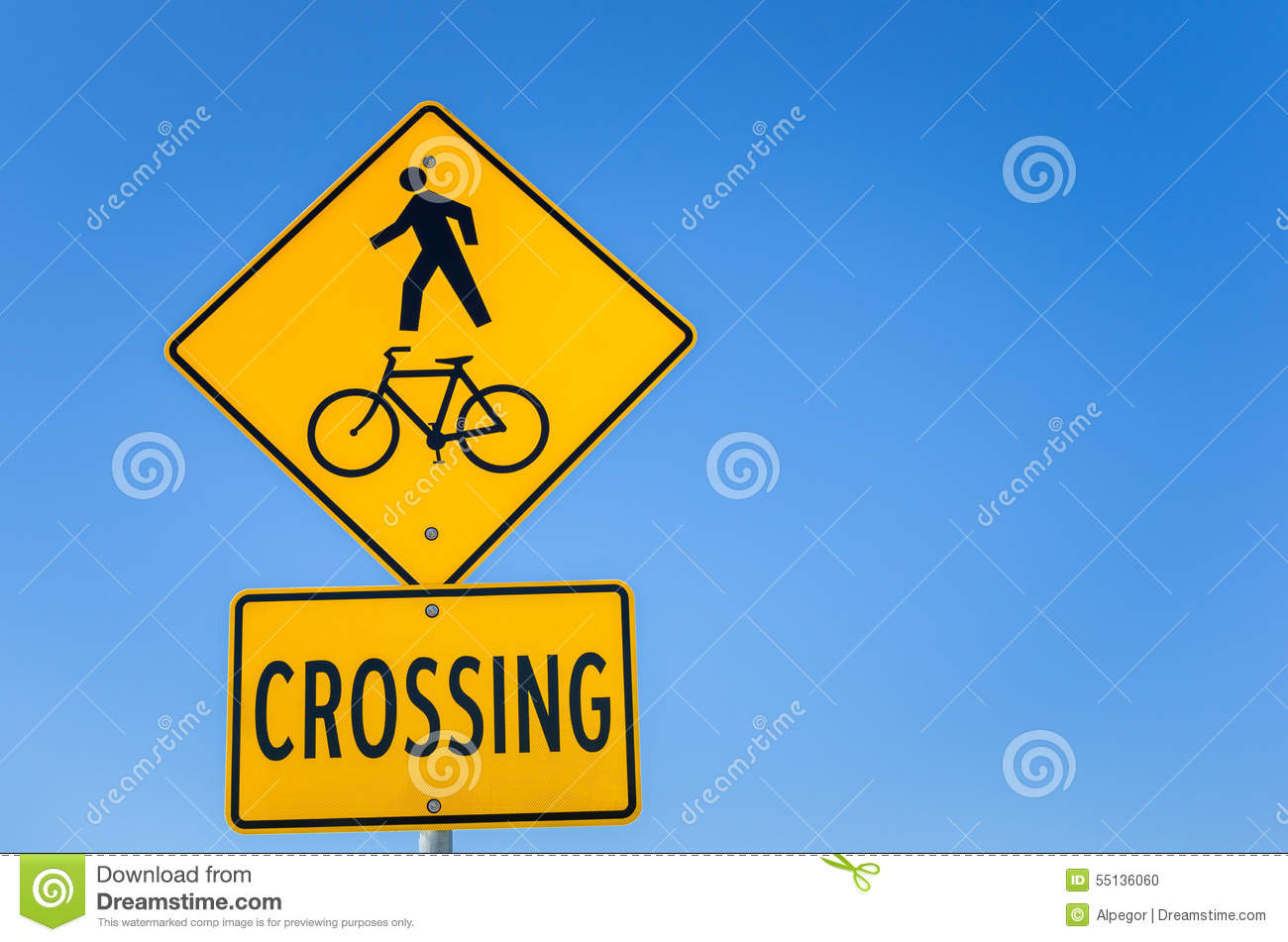 Warning Sign For Pedestrian Crossing Stock Photo ...