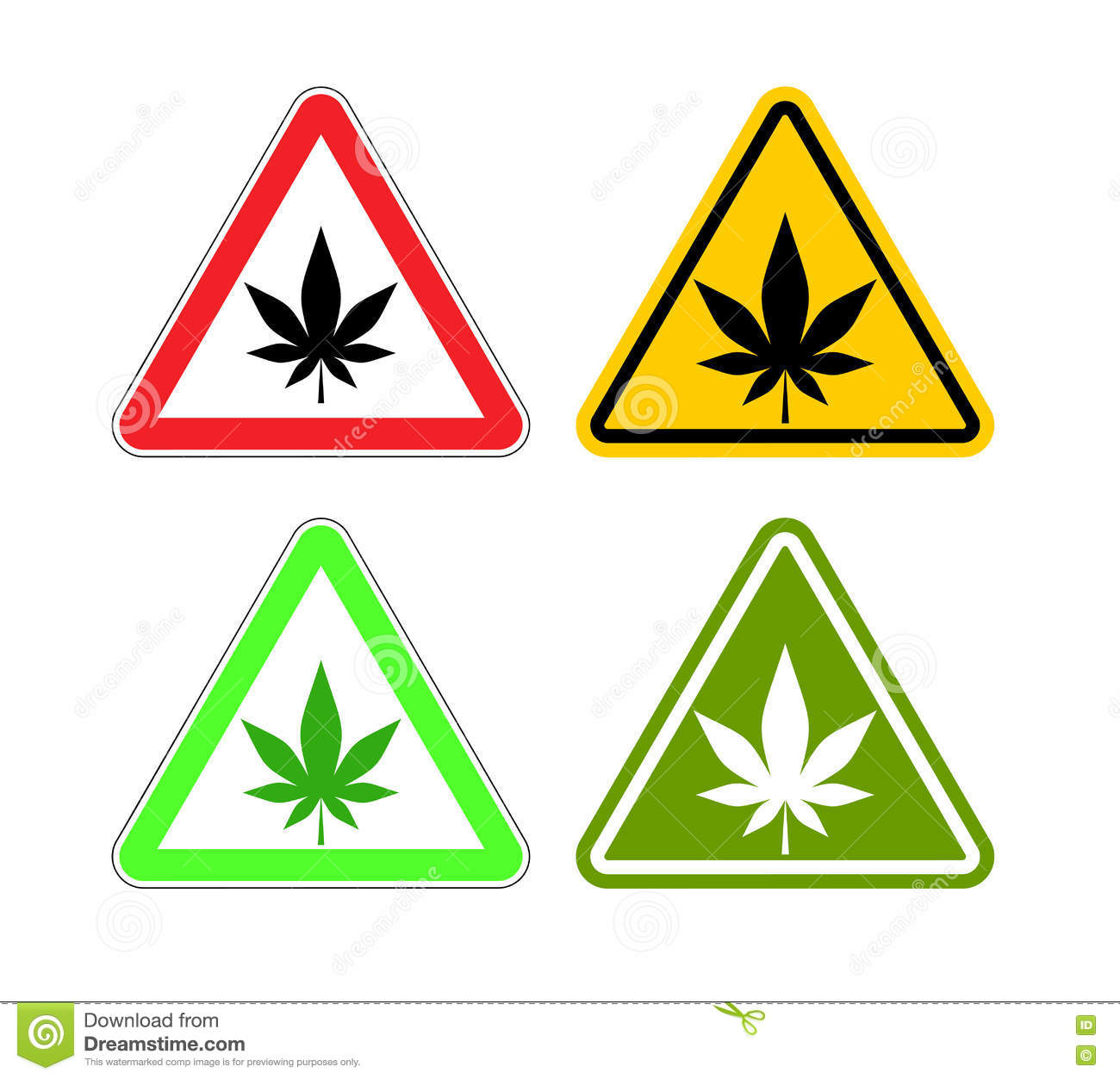 Warning sign attention drugs. Dangers of marijuana and yellow si