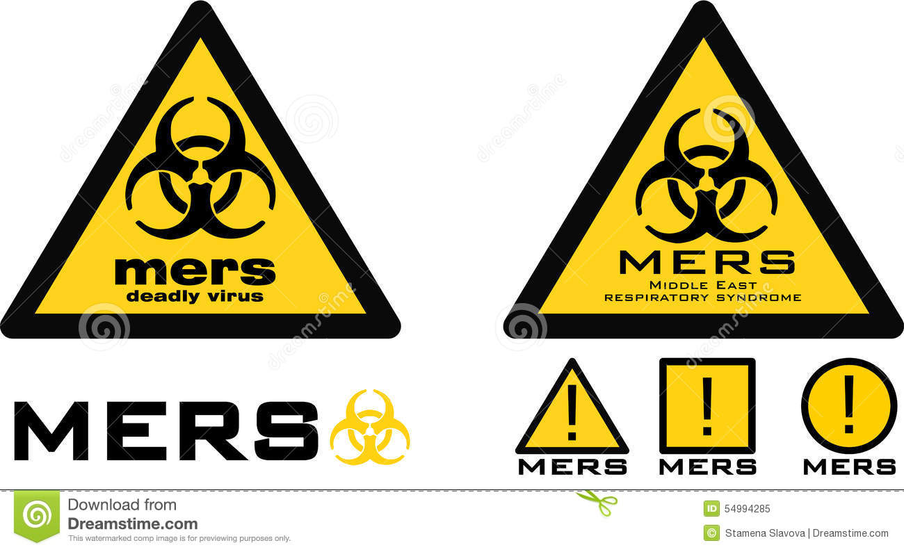 Warning Sign With Biohazard Symbol And Mers Text Stock Illustration